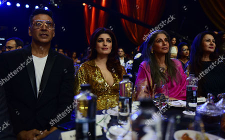Bollywood actor Akshay Kumar with wife Twinkle Khanna and mother-in-law Dimple Kapadia conversation with filmmaker Karan Johar