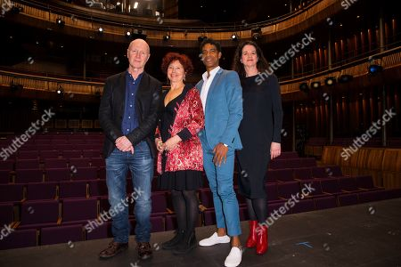 Paul Laverty, Iciar Bollian, Carlos Acosta, Andrea Calderwood. From left to right, writer Paul Laverty, director Iciar Bollian, dancer Carlos Acosta and producer Andrea Calderwood pose for photographers upon arrival for premiere of Yuli: The Carlos Acosta Story, on stage at the Royal Opera House in central London