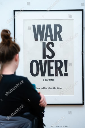"""Visitors look at the work """"War is over"""" of the Japanese-American artist Yoko Ono during the opening of the exhibition 'PEACE is POWER' in the Museum of the Fine Arts (Museum der bildenden Kuenste) in Leipzig, Germany, 03 April 2019. Yoko Ono presents her most extensive exhibition of works in Leipzig since her retrospective in the Schirn Kunsthalle in Frankfurt five years ago."""