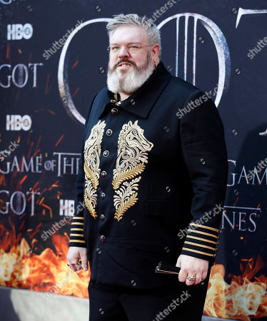Kristian Nairn arrives for the New York red carpet premiere for the eighth and final season of Game of Thrones at Radio City Music Hall in New York, New York, USA, 03 April 2019.