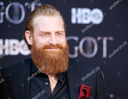 Kristofer Hivju arrives for the New York red carpet premiere for the eighth and final season of Game of Thrones at Radio City Music Hall in New York, New York, USA, 03 April 2019.
