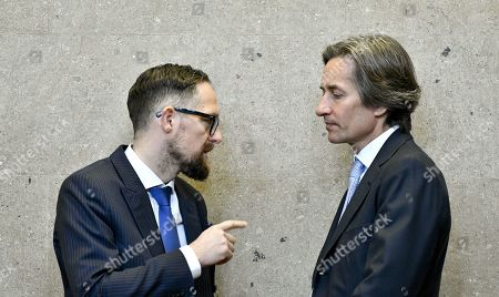 Defendant Karl Heinz Grasser (R) and his lawyer Norbert Wess attend another day of trial against former Finance Minister Karl-Heinz Grasser and other defendants at the Vienna District Criminal Court, in Vienna, Austria, 04 April 2019. The trial of Karl-Heinz Grasser and other defendants deals with the charges of alleged fraud and corruption in connection with the privatization of the federal housing association 'Buwog'.