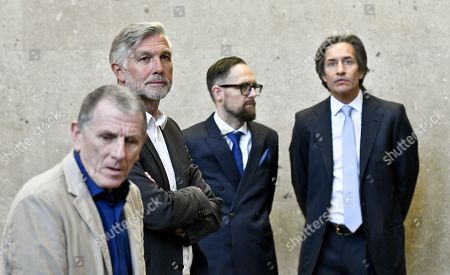 Defendants Peter Hochegger (L), Walter Meischberger (2-L), Karl Heinz Grasser (R) and lawyer Norbert Wess attend another day of trial against former Finance Minister Karl-Heinz Grasser and other defendants at the Vienna District Criminal Court, in Vienna, Austria, 04 April 2019. The trial of Karl-Heinz Grasser and other defendants deals with the charges of alleged fraud and corruption in connection with the privatization of the federal housing association 'Buwog'.