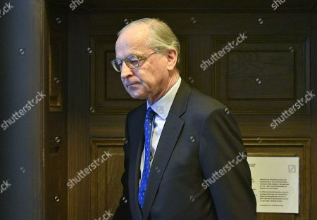 The former head of Austrian state holding OeIAG Peter Michaelis, being invited as a witness, attends another day of trial against former Finance Minister Karl-Heinz Grasser and other defendants at the Vienna District Criminal Court, in Vienna, Austria, 04 April 2019. The trial of Karl-Heinz Grasser and other defendants deals with the charges of alleged fraud and corruption in connection with the privatization of the federal housing association 'Buwog'.