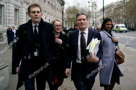 Shadow Brexit Secretary Keir Starmer (2-R), Labour Party's Executive Director of Strategy and Communications Seumas Milne (L), Shadow Secretary of State for Business Rebecca Long Bailey (2-L) and Labour MP Rupa Huq (R) depart the Cabinet Office following cross party talks in London, Britain, 04 April 2019. Labour leader Jeremy Corbyn is to hold further talks with British Prime Minister Theresa May over Brexit on later in the day.