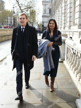 Labour Party's Executive Director of Strategy and Communications, Seumas Milne (L) arrives at the Cabinet Office in central London, Britain, 04 April 2019. Corbyn and British Prime Minister Theresa May will continue talks between Conservative and Labour teams to end the Brexit deadlock.