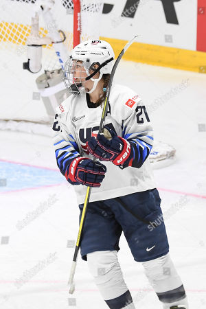 Hilary Knight of the USA celebrates a goal during the 2019 IIHF Ice Hockey Women's World Championship match between Finland and the USA in Espoo, Finland, 04 April 2019.