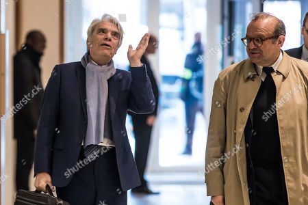 French tycoon Bernard Tapie (L) and his lawyer Herve Temime (R), arrive at the Tribunal de Paris courthouse for the last day of his trial, in Paris, France, 04 April 2019. French businessman Bernard Tapie goes on trial over a compensation of 404 million euros in 2008, to settle a long-running legal dispute following a fraught 1993 corporate deal regarding the sale of his sportswear company Adidas. The case involves Christine Lagarde, now head of the International Monetary Fund (IMF) but at the time Finance minister of Nicolas Sarkozy's government, and her former chief of staff, Stephane Richard, now chief executive of Orange, among others.