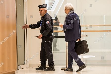 French tycoon Bernard Tapie (R), arrives at the Tribunal de Paris courthouse for the last day of his trial, in Paris, France, 04 April 2019. French businessman Bernard Tapie goes on trial over a compensation of 404 million euros in 2008, to settle a long-running legal dispute following a fraught 1993 corporate deal regarding the sale of his sportswear company Adidas. The case involves Christine Lagarde, now head of the International Monetary Fund (IMF) but at the time Finance minister of Nicolas Sarkozy's government, and her former chief of staff, Stephane Richard, now chief executive of Orange, among others.