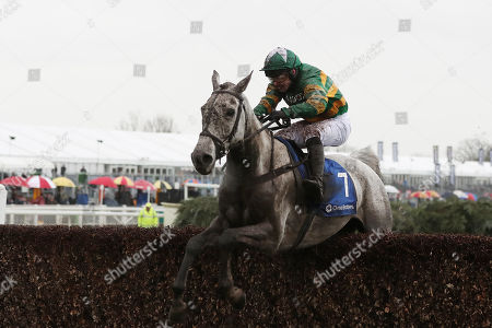 Jono O'Neill Jr riding The Flying Portrait clears the last fence during The Close Brothers Red Rum Handicap Steeple Chase