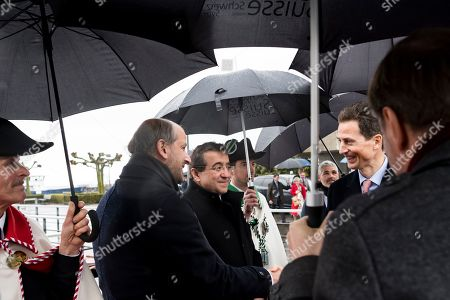 H.R.H. Hereditary Prince Alois of Liechtenstein, right, is welcomed by Gregoire Junod, Mayor of Lausanne and Pascal Broulis, Vaud State councilor during a two day state visit to Switzerland, in Lausanne, Switzerland, 04 April 2019.