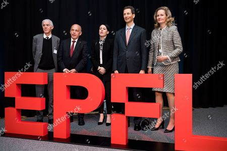 (L-R) Martin Vetterli, president of the EPFL, Swiss Federal President Ueli Maurer, and his daughter Sidonia Maurer, H.R.H. Hereditary Prince Alois of Liechtenstein, and his wife H.R.H Hereditary Princess Sophie of Liechtenstein, pose front of a logo at the Ecole polytechnique federale de Lausanne (EPFL), the research institute and university in Lausanne during a two day state visit to Switzerland, in Lausanne, Switzerland, 04 April 2019.