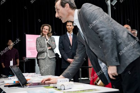 H.R.H. Hereditary Prince Alois of Liechtenstein, right, and his wife H.R.H Hereditary Princess Sophie of Liechtenstein, left, listen the Prof. Francesco Mondada at the Ecole polytechnique federale de Lausanne (EPFL), the research institute and university in Lausanne during a two day state visit to Switzerland, in Lausanne, Switzerland, 04 April 2019.