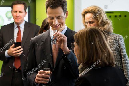 Hereditary Prince Alois of Liechtenstein (C) drinks a vegan milk at the Nestle Research center in Lausanne, Switzerland, 04 April 2019. Liechtenstein royal couple is on a two day state visit to Switzerland.
