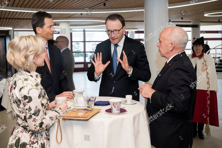 Swiss Federal President Ueli Maurer (R) and Hereditary Prince Alois of Liechtenstein (L) with Nestle's CEO Ulf Mark Schneider (C) at the Nestle Research center in Lausanne, Switzerland, 04 April 2019. Liechtenstein royal couple is on a two day state visit to Switzerland.