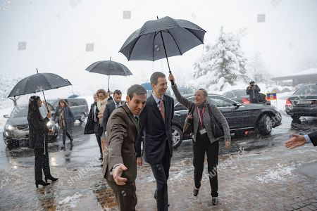 Hereditary Prince Alois of Liechtenstein (C) arrives at the Nestle Research center in Lausanne, Switzerland, 04 April 2019. Liechtenstein royal couple is on a two day state visit to Switzerland.