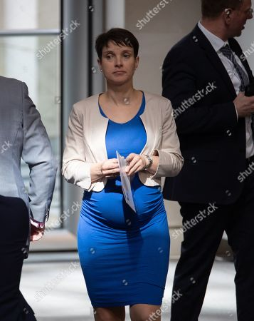 Stock Picture of Frauke Petry walks during a session of the German parliament 'Bundestag' in Berlin, Germany, 04 April 2019. Members of the German Bundestag discuss about 70 years of NATO among others.