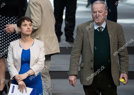 Frauke Petry (L) and Alternative for Germany party (AfD) faction co-chairman in the German parliament Bundestag Alexander Gauland during a session of the German parliament 'Bundestag' in Berlin, Germany, 04 April 2019. Members of the German Bundestag discuss about 70 years of NATO among others.