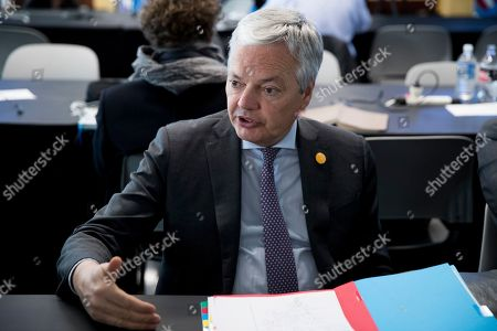 Stock Image of Minister of Foreign Affairs of Belgium Didier Reynders speaks to members of the news media after the conclusion of the NATO Foreign Ministers meetings at the State Department in Washington, DC, USA, 04 April 2019. NATO members' Foreign Mnisters met in Washington to mark the alliance's 70th anniversary and debate on key security issues.