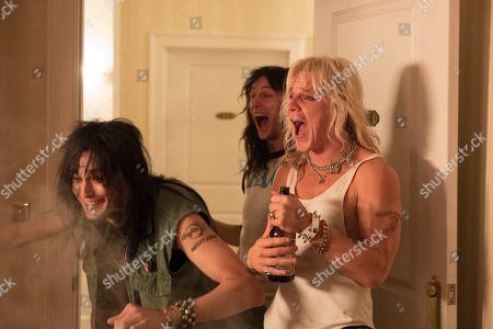 Douglas Booth as Nikki Sixx, Machine Gun Kelly as Tommy Lee and Daniel Webber as Vince Neil