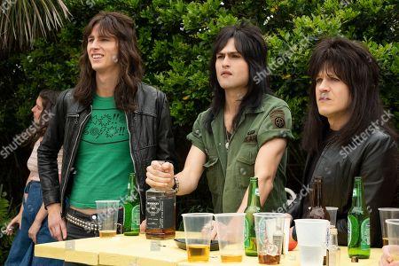 Machine Gun Kelly as Tommy Lee, Douglas Booth as Nikki Sixx and Iwan Rheon as Mick Mars