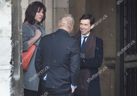 Energy Minister Claire Perry talks with Boris Johnson and Prisons Minister Rory Stewart in Parliament before Prime Minister's Questions