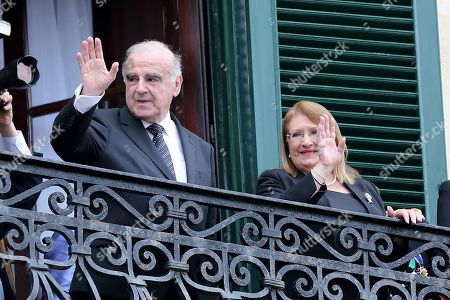 Stock Photo of Malta's President-elect George Vella (L) and outgoing President Marie Louise Coleiro Preca (R) wave from a balcony at the Grandmaster's Palace in Valletta, Malta, 04 April 2019. ella was sworn in as President following his win in the 02 April 2019 elections.