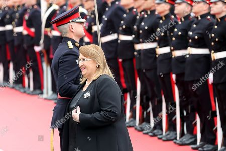 Malta's Outgoing President Marie Louise Coleiro Preca (C) inspects a guard of honour after Vella was sworn in at the Grandmaster's Palace in Valletta, Malta, 04 April 2019. ella was sworn in as President following his win in the 02 April 2019 elections.
