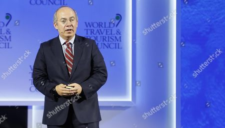 Mexican former president Felipe Calderon Hinojosa delivers a speech during 19th World Travel and Tourism Council (WTTC) in Seville, Andalusia, Spain, 04 April 2019. More than 180 countries and over 1,500 business leader will attend the 19th edition of the WTTC conference.