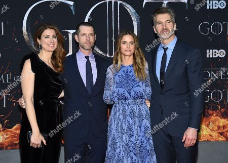 """Andrea Troyer, D. B. Weiss, Amanda Peet, David Benioff. Andrea Troyer, from left, creator/executive producer D. B. Weiss, Amanda Peet and creator/executive producer David Benioff attend HBO's """"Game of Thrones"""" final season premiere at Radio City Music Hall, in New York"""