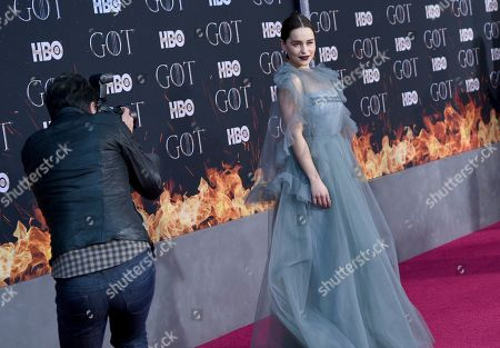 """Emilia Clarke attends HBO's """"Game of Thrones"""" final season premiere at Radio City Music Hall, in New York"""