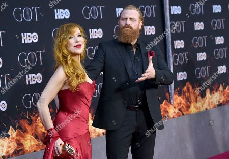 "Kristofer Hivju, Gry Molaer Hivju. Kristofer Hivju, right, and Gry Molaer Hivju attend HBO's ""Game of Thrones"" final season premiere at Radio City Music Hall, in New York"