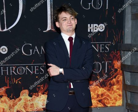 """Stock Photo of Jack Gleeson attends HBO's """"Game of Thrones"""" final season premiere at Radio City Music Hall, in New York"""