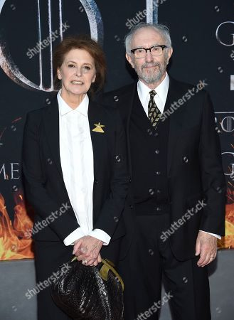 "Kate Fahy, Jonathan Pryce. Actor Jonathan Pryce, right, and wife Kate Fahy attend HBO's ""Game of Thrones"" final season premiere at Radio City Music Hall, in New York"