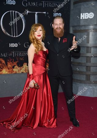 "Gry Molvaer Hivju, Kristofer Hivju. Actor Kristofer Hivju, right, and wife Gry Molvaer Hivju attend HBO's ""Game of Thrones"" final season premiere at Radio City Music Hall, in New York"