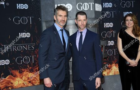"""David Benioff, D.B. Weiss. Creators and executive producers David Benioff, left, and D.B. Weiss pose together at HBO's """"Game of Thrones"""" final season premiere at Radio City Music Hall, in New York"""