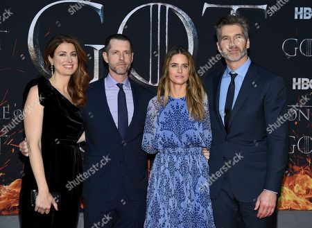 """Andrea Troyer, D.B. Weiss, Amanda Peet, David Benioff. Andrea Troyer, left, D.B. Weiss, Amanda Peet and David Benioff attend HBO's """"Game of Thrones"""" final season premiere at Radio City Music Hall, in New York"""
