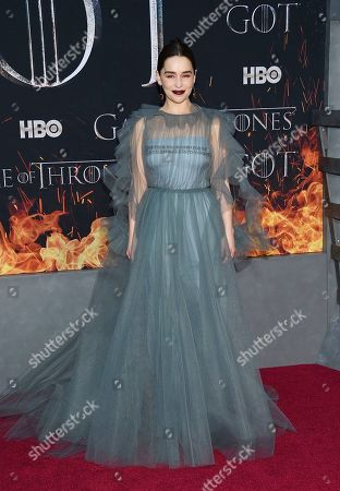 """Stock Photo of Emilia Clarke attends HBO's """"Game of Thrones"""" final season premiere at Radio City Music Hall, in New York"""