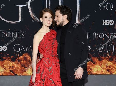 """Rose Leslie, Kit Harington. Actors Kit Harington, right, and wife Rose Leslie attend HBO's """"Game of Thrones"""" final season premiere at Radio City Music Hall, in New York"""