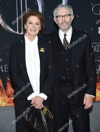 "Kate Fahy, Jonathan Pryce. Kate Fahy, left, and Jonathan Pryce attend HBO's ""Game of Thrones"" final season premiere at Radio City Music Hall, in New York"