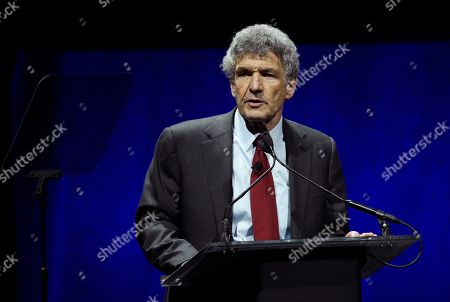 Alan Horn, chairman of The Walt Disney Studios, addresses the audience during the Walt Disney Studios Motion Pictures presentation at CinemaCon 2019, the official convention of the National Association of Theatre Owners (NATO) at Caesars Palace, in Las Vegas