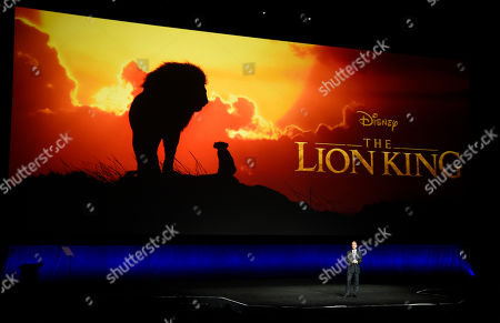 """Sean Bailey, president of Walt Disney Studios Motion Picture Production, discusses the upcoming live-action film """"The Lion King"""" during the Walt Disney Studios Motion Pictures presentation at CinemaCon 2019, the official convention of the National Association of Theatre Owners (NATO) at Caesars Palace, in Las Vegas"""