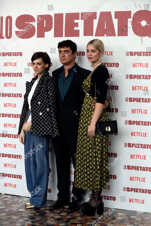 "From left, Sara Serraiocco, Scamarcio and Marie-Ange Casta pose for photographers during a photo call for the movie ""Lo Spietato"" in Rome"