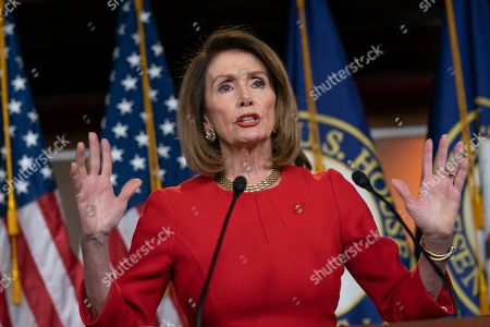 Speaker of the House Nancy Pelosi, D-Calif., insists that Attorney General William Barr send to Congress the full report by special counsel Robert Mueller on the Russia probe with all its underlying evidence, during a news conference on Capitol Hill in Washington, . She also defended the move by House Ways and Means Committee Chairman Richard Neal, D-Mass., to demand President Donald Trump's tax returns for six years