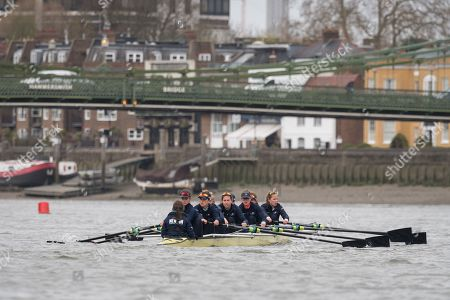 Oxford and Cambridge Universities Blue Crews undertake Practice Outings in preparation for this Sunday's Boat Race., Pictured: Oxford University Women's Boat Club (OUWBC) Blue Crew.  Stroke: Amelia Standing, 7. Tina Christmann, 6. Beth Bridgman, 5. Liv Pryer, 4. Lizzie Polgreen, 3. Renée Koolschijn, 2. Anna Murgatroyd, Bow. Issy Dodds, Cox. Eleanor Shearer