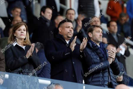 Valladolid's President Ronaldo Nazario (C) and Leganes' President Victoria Pavon (L) react prior to the Spanish LaLiga match between CD Leganes and Real Valladolid at Butarque stadium in Leganes, Madrid, Spain, 04 April 2019.