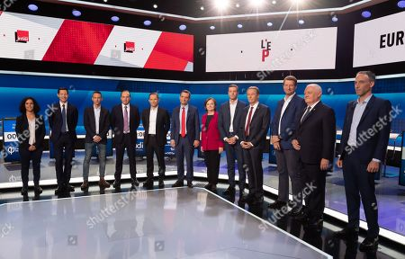 From left to right  Heads of lists of candidates for the European Parliament elections in May 2019, Manon Aubry (LFI), François-Xavier Bellamy (LR), Ian Brossat (PCF), Jean-Christophe Lagarde (UDI), Benoît Hamon, Florian Philippot (Les Patriotes), Nathalie Loiseau (LREM), Jordan Bardella (RN), Nicolas Dupont-Aignan (DLF), Yannick Jadot (EELV), François Asselineau (UPR) and Raphael Glucksmann.