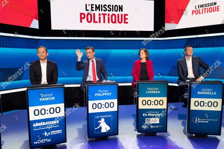 Stock Photo of Benoit Hamon, Florian Philippot, Nathalie Loiseau and Jordan Bardella.