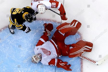 Detroit Red Wings goaltender Jimmy Howard (35) covers a loose puck in the goal crease with Luke Witkowski (28) defending Pittsburgh Penguins' Jared McCann (19) during the second period of an NHL hockey game in Pittsburgh, . The Penguins won 4-1