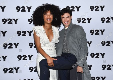 "Jaz Sinclair, Gavin Leatherwood. Actors Jaz Sinclair, left, and Gavin Leatherwood from Netflix's ""Chilling Adventures of Sabrina"" pose backstage before a live discussion at the 92nd Street Y, in New York"